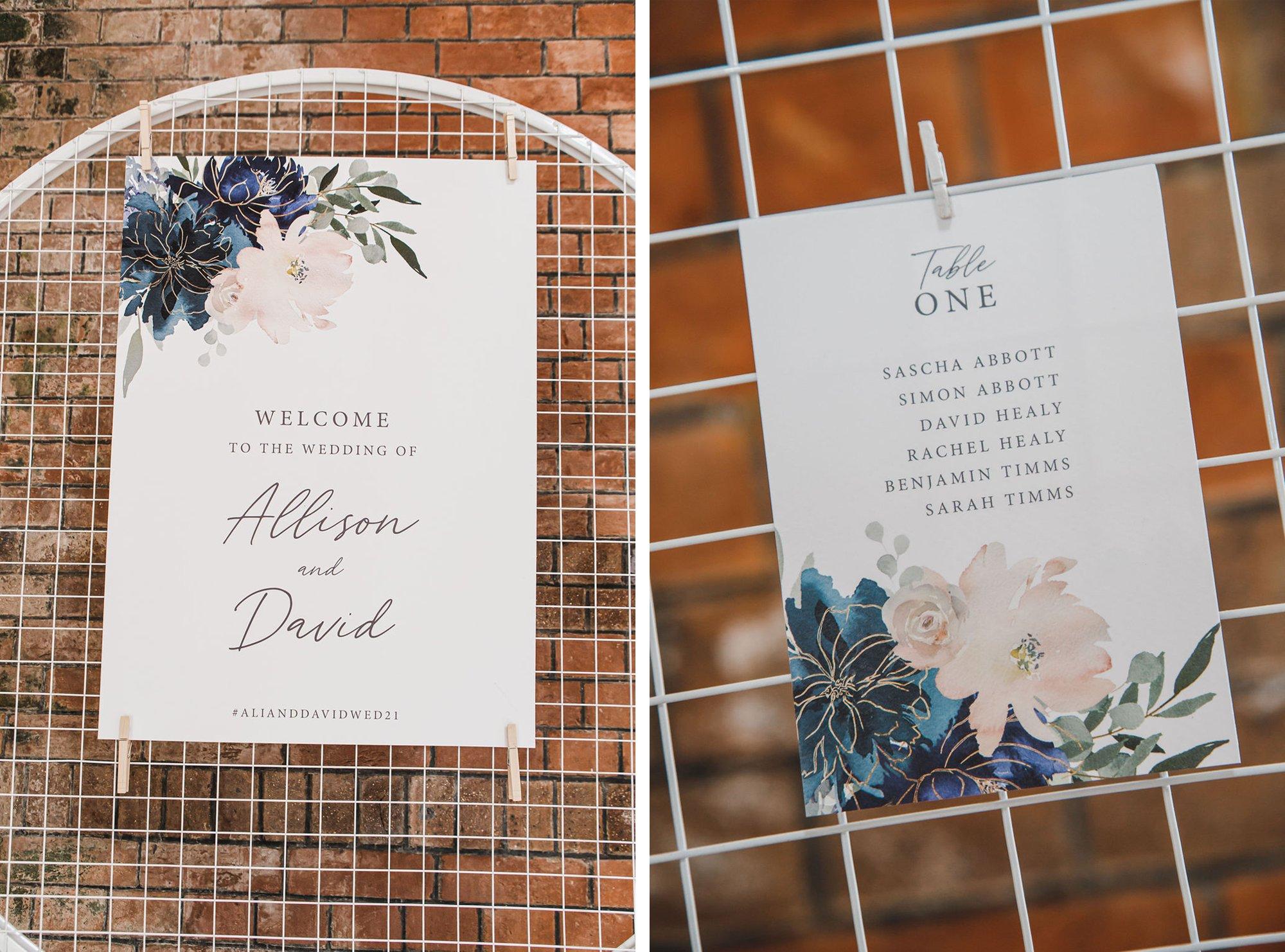 Blue and Blush Floral Wedding Signage Ideas, Flamboyant Invites