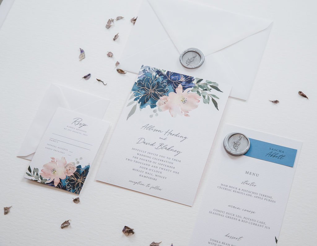 Blue Blush Floral Wedding Stationery, Flamboyant Invites