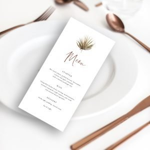 Micro Wedding Collection - Boho Palm Menu | Flamboyant Invites