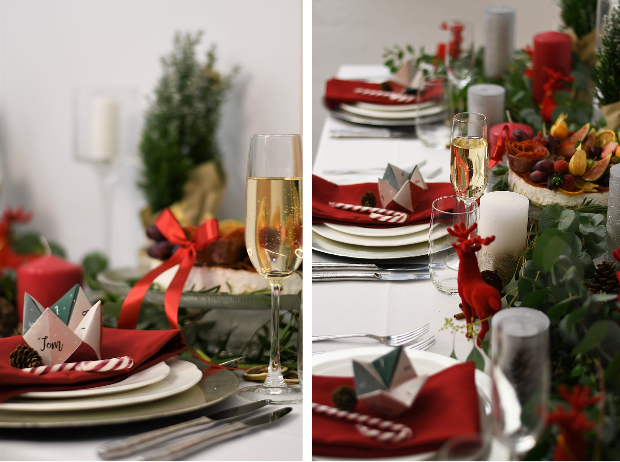 Christmas Wedding Table Origami Names   Flamboyant Invites