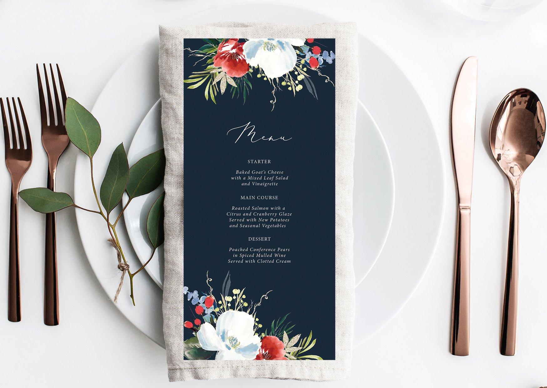 Winter Blooms Wedding Menu   Flamboyant Invites
