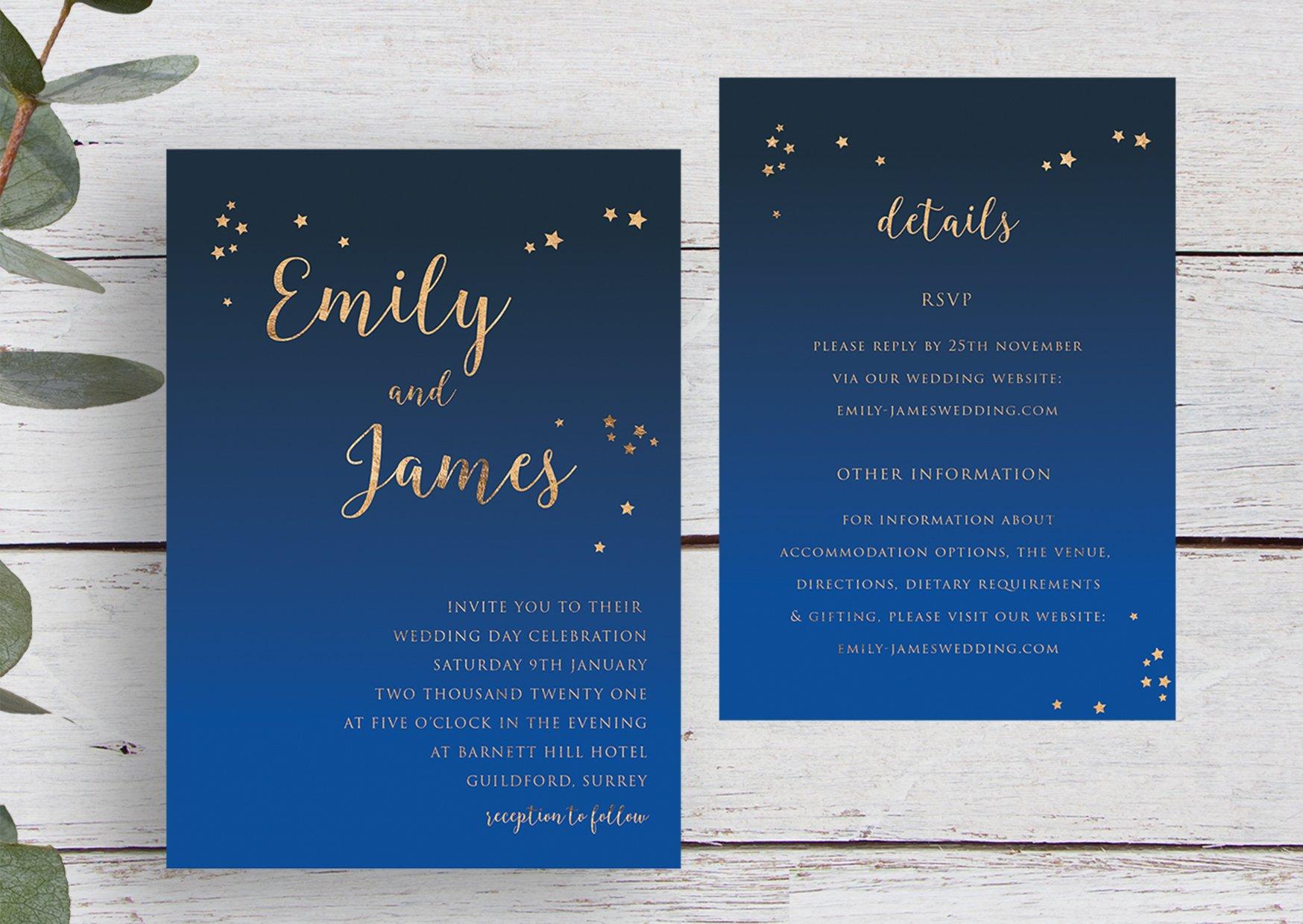 Winter Skies Wedding Invitation Suite   Flamboyant Invites
