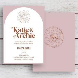 Skye Boho Arched Wedding Invitation   Flamboyant Invites