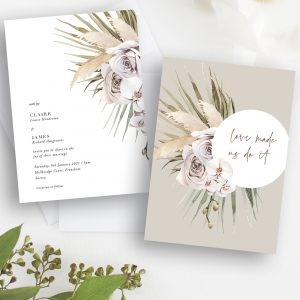 Boho Palm Wedding Invitation | Flamboyant Invites