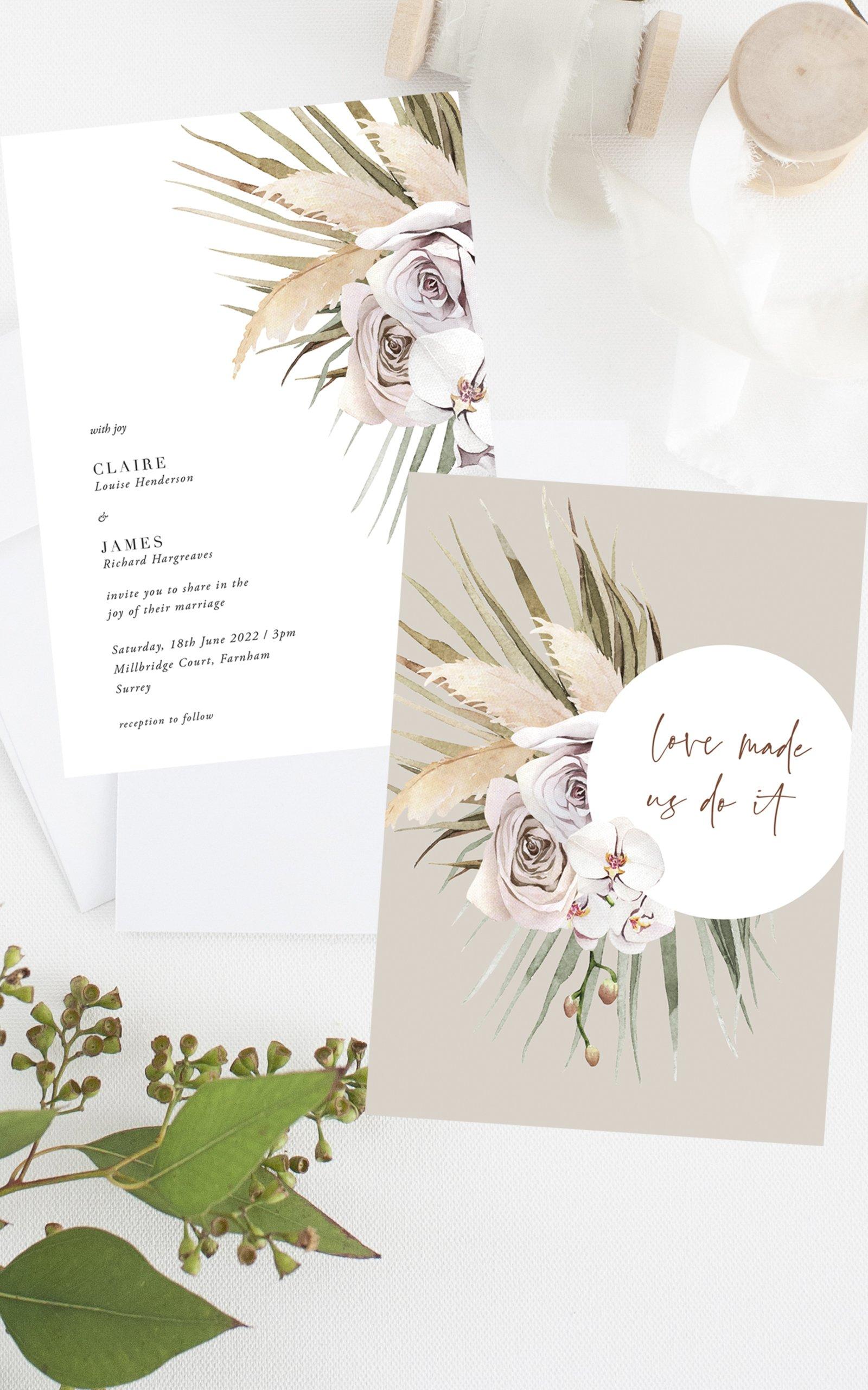 Boho Palm Wedding Invitation   Flamboyant Invites