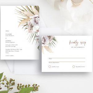 Boho Palm Wedding Invitation and RSVP | Flamboyant Invites