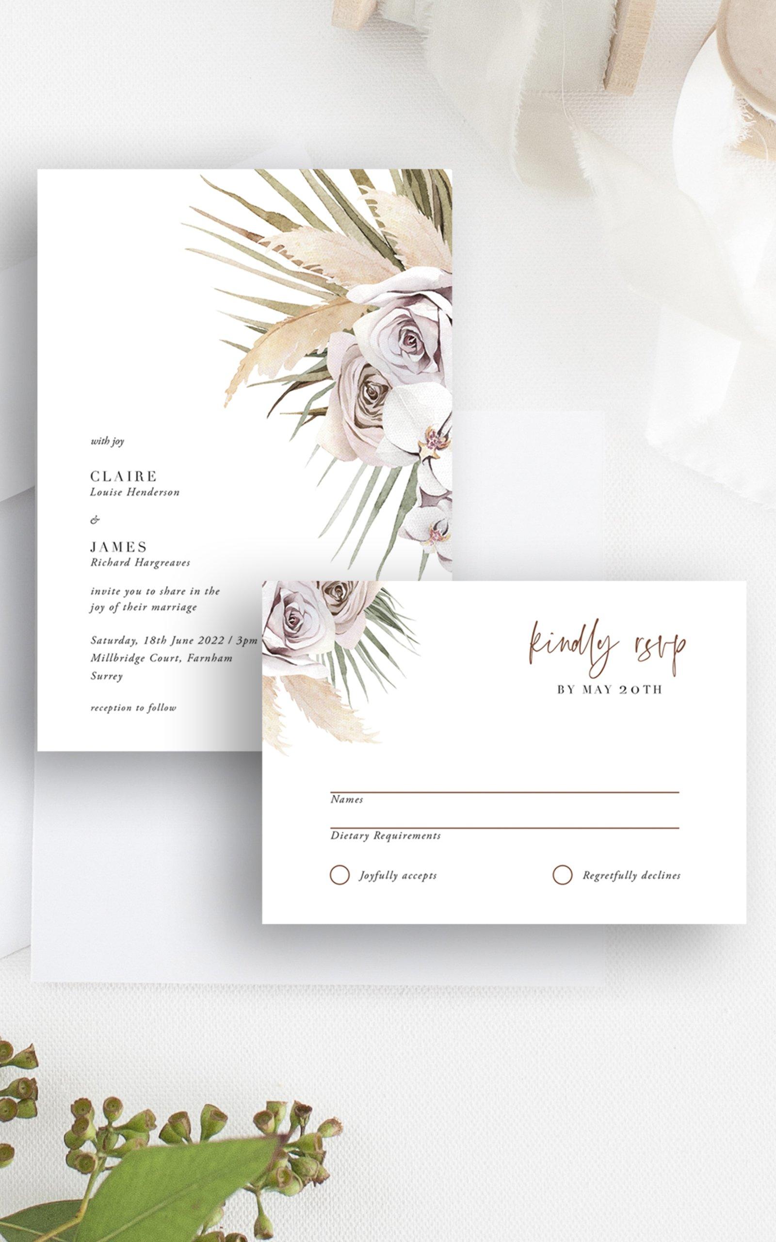 Boho Palm Wedding Invitation RSVP   Flamboyant Invites