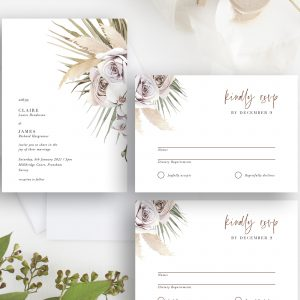 Boho Palm Wedding Invitation Suite | Flamboyant Invites