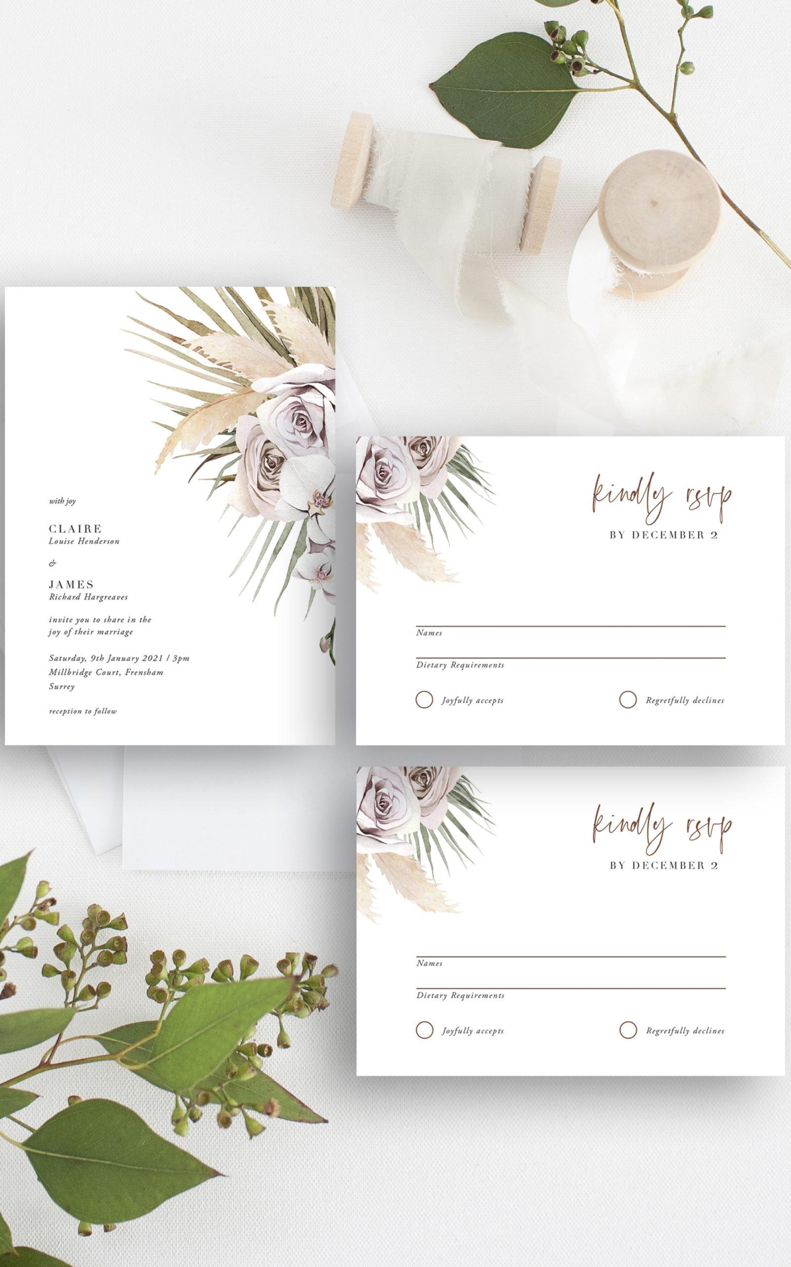 Boho Palm Wedding Invitation Suite | Flamboyant Invites