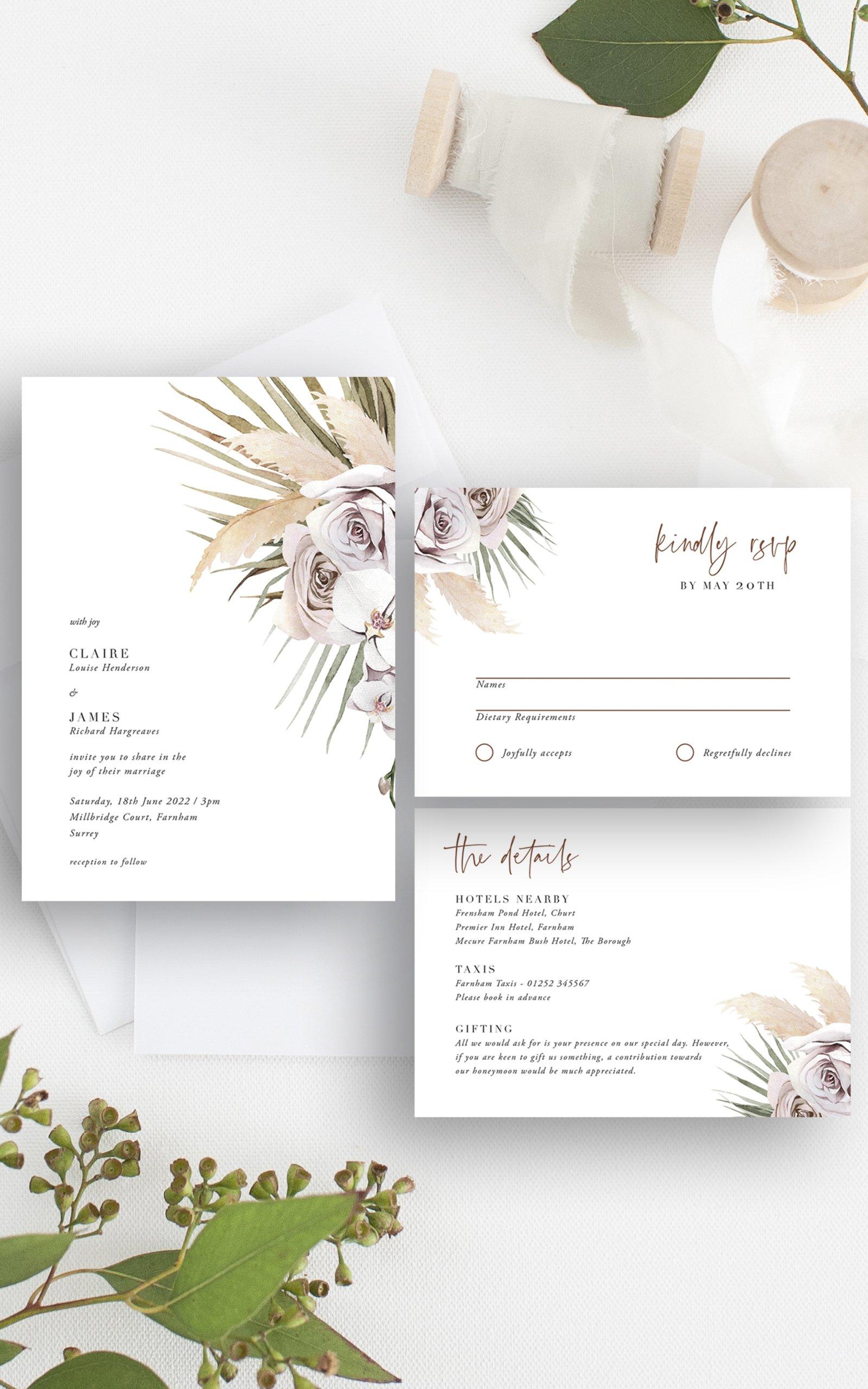 Boho Palm Wedding Invitation Suite   Flamboyant Invites