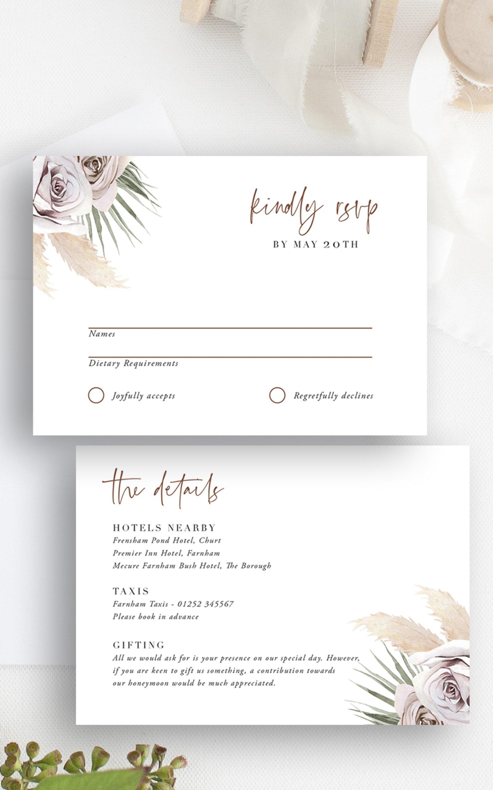 Boho Palm Wedding RSVP Details Card   Flamboyant Invites