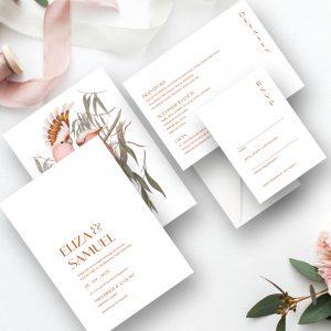 Love Birds Botanical Wedding Invitation Suite | Flamboyant Invites