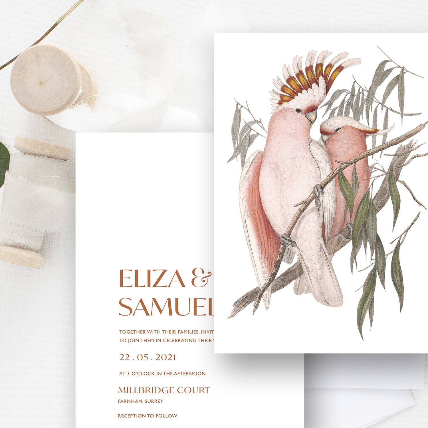 Love Birds Modern Botanical Wedding Invitation | Flamboyant Invites