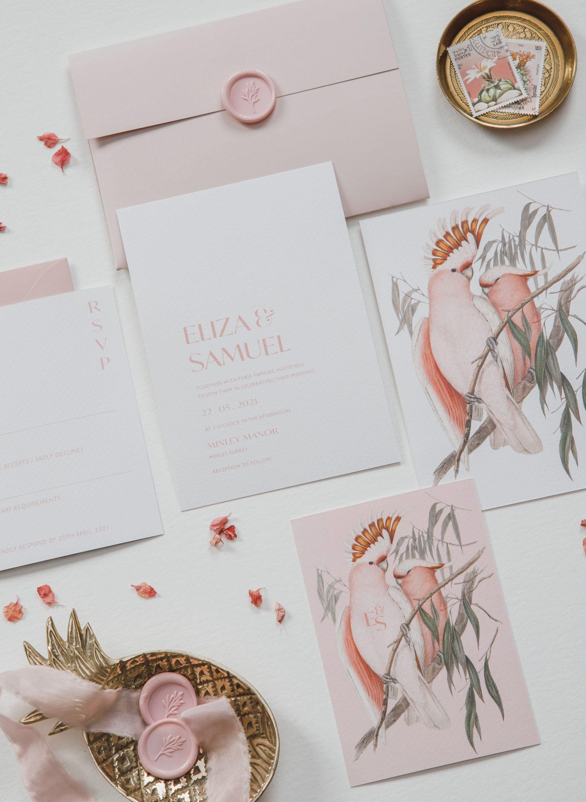 Love Birds Bespoke Invitation Suite | Flamboyant Invites