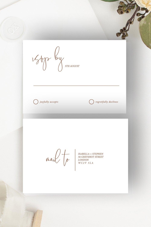 Minimo Wedding Invitation RSVP Terracotta   Flamboyant Invites