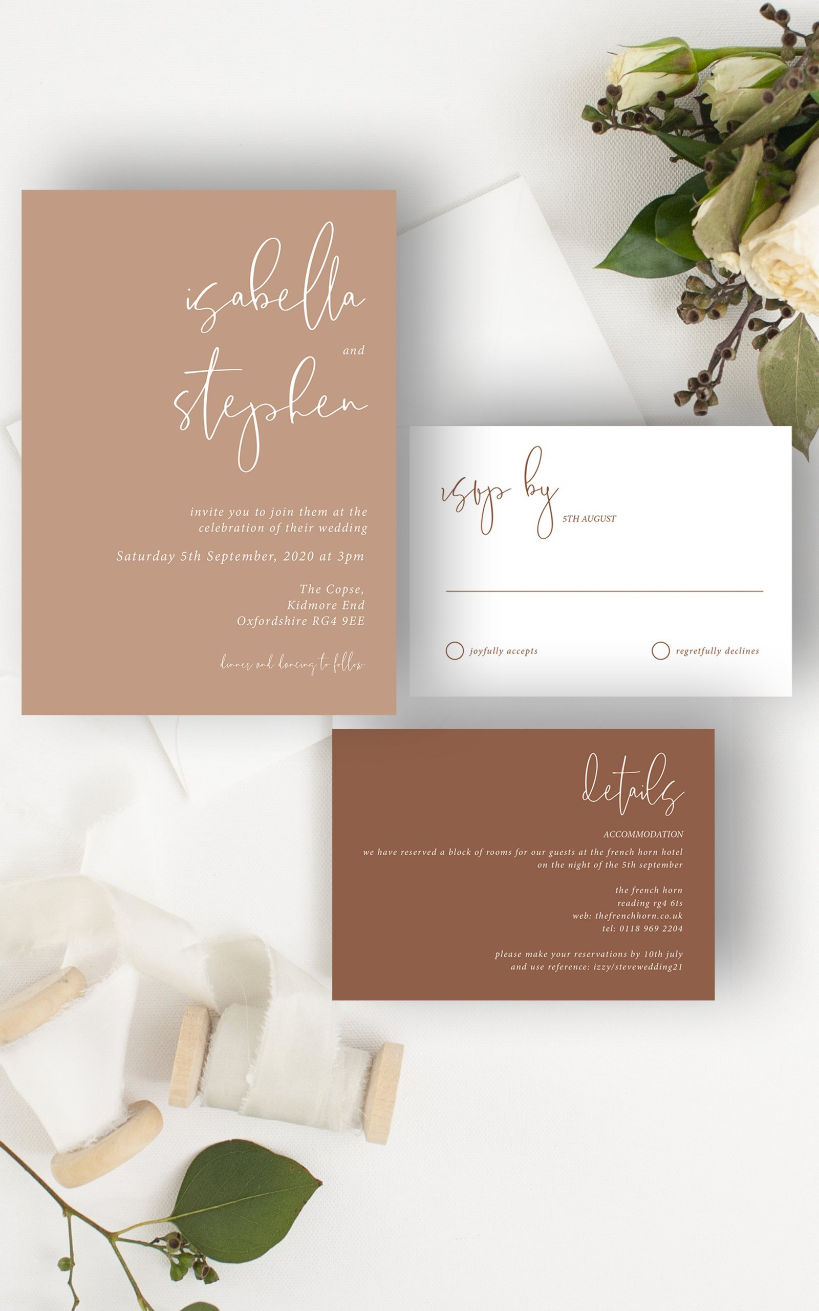 Minimo Minimalist Wedding Invitation Suite Apricot & Terracotta | Flamboyant Invites
