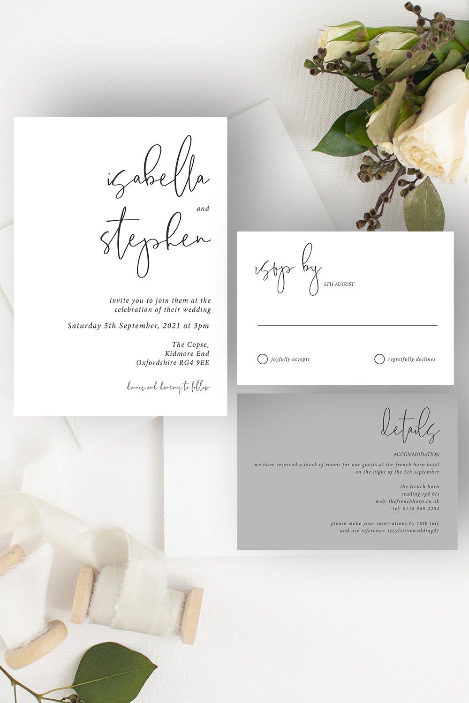 Minimo Minimalist Wedding Invitation Suite Grey & White   Flamboyant Invites