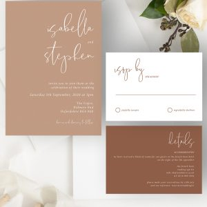 Minimo Minimalist Wedding Invitation Suite Apricot & Terracotta | Flamboyant Invites