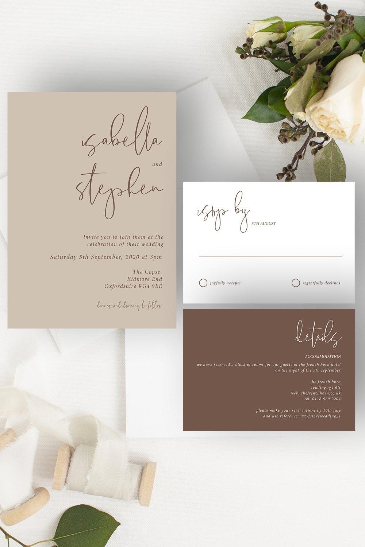 Minimo Minimalist Wedding Invitation Suite Nude & Mocha   Flamboyant Invites