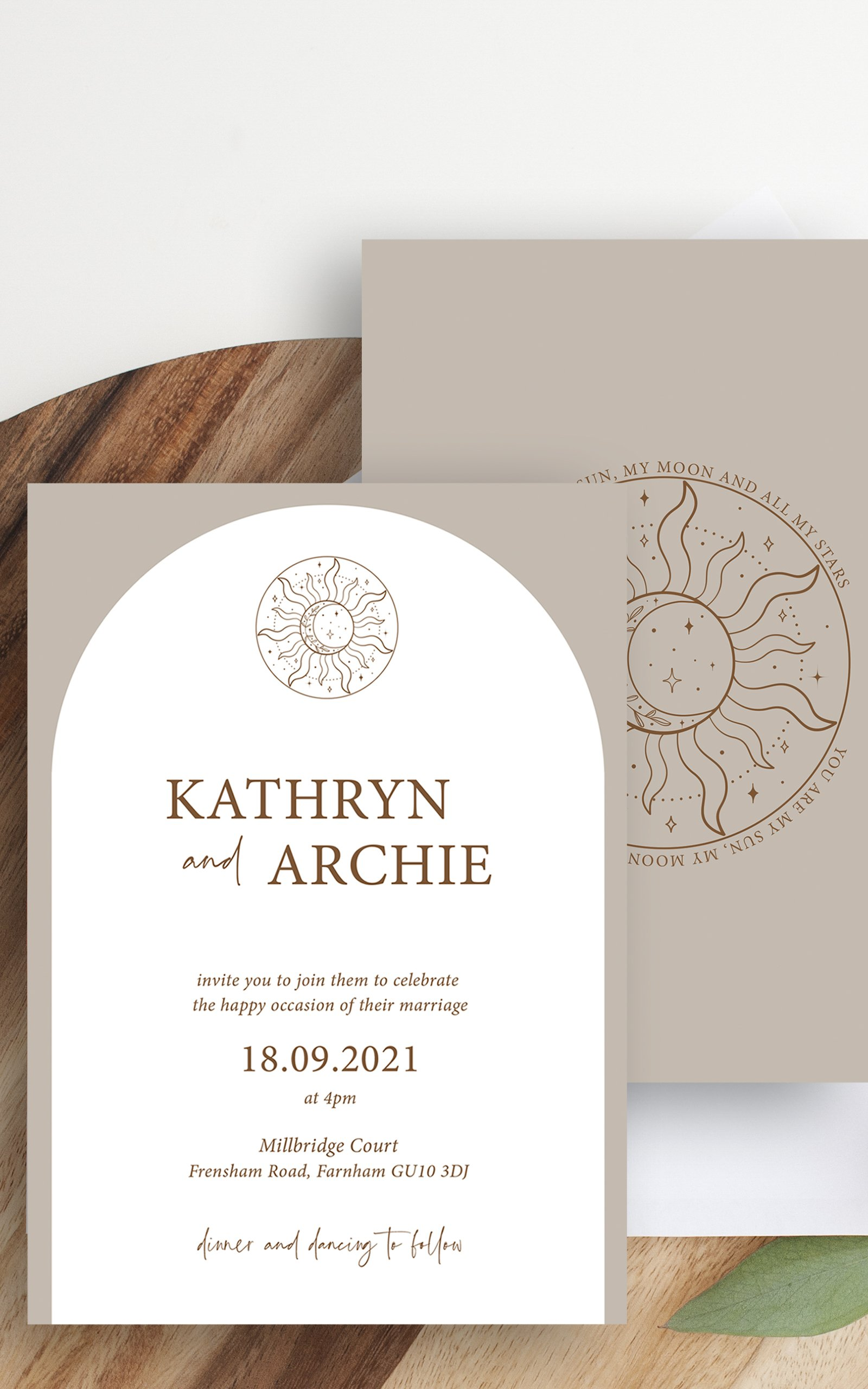Skye Boho Arched Wedding Invitation | Flamboyant Invites