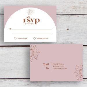 Skye Boho Arched Wedding RSVP   Flamboyant Invites