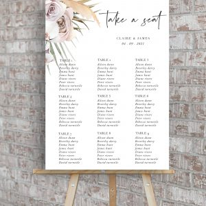 Boho Palm Wedding Table Plan | Flamboyant Invites