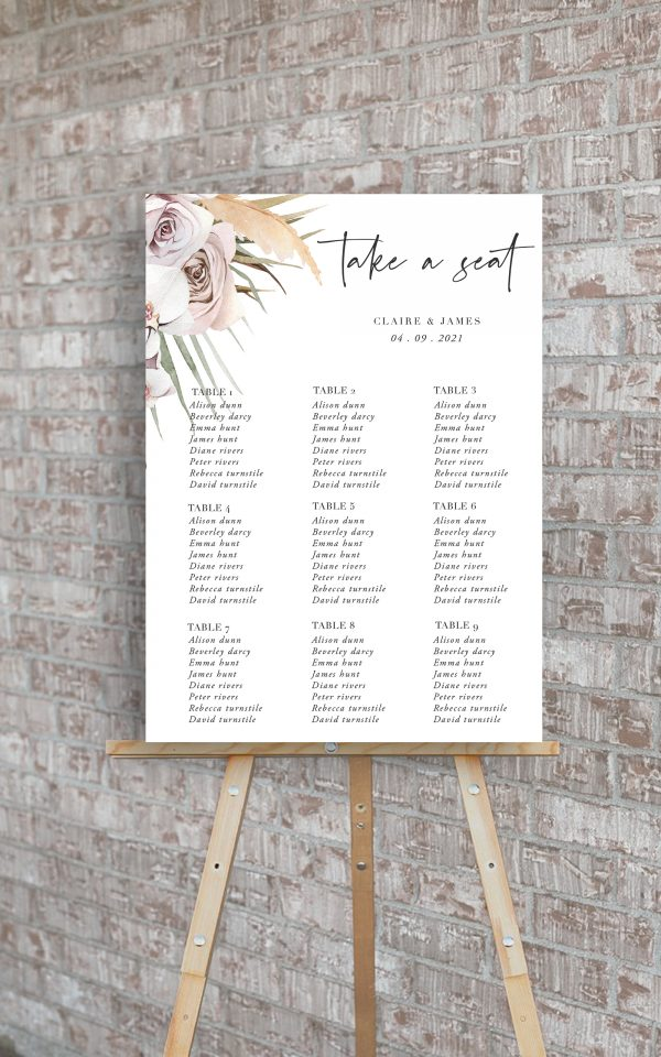 Boho Palm Wedding Table Plan | Flamboyant Invites