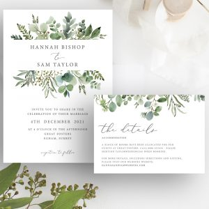 Hannah Greenery Eucalyptus Wedding Invitation and Details Card | Flamboyant Invites