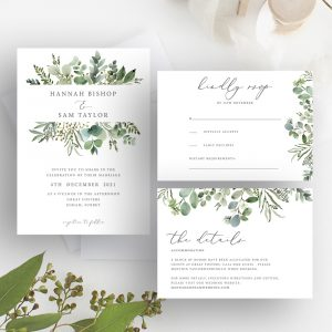 Hannah Greenery Eucalyptus Wedding Invitation Suite | Flamboyant Invites