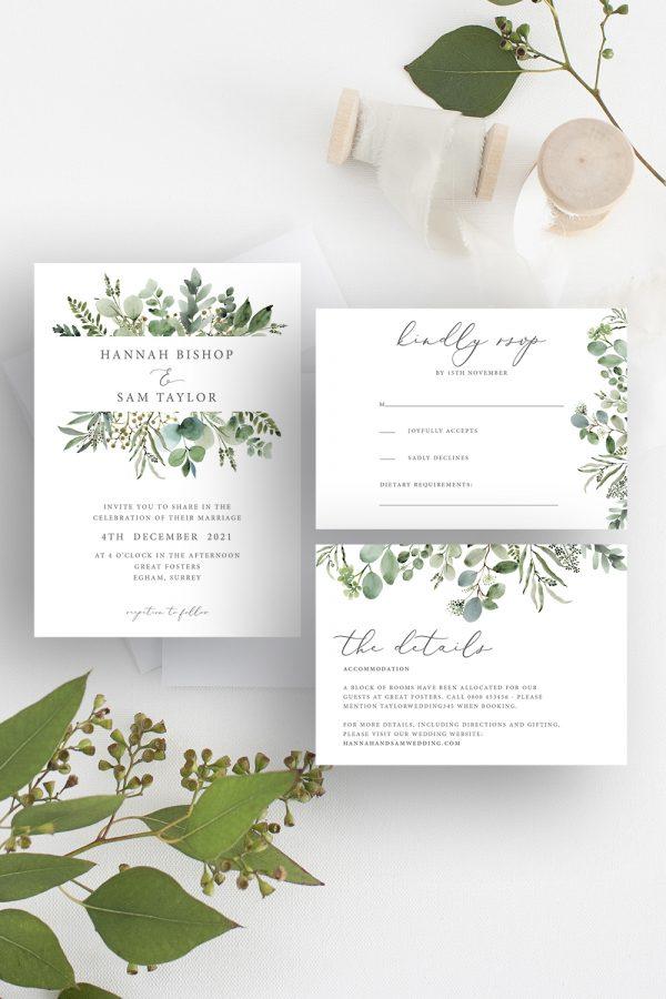Hannah Greenery Eucalyptus Wedding Invitation Suite | Flamboyant Invites