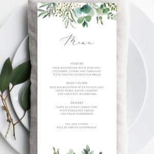 Hannah Greenery Eucalyptus Wedding Menu | Flamboyant Invites