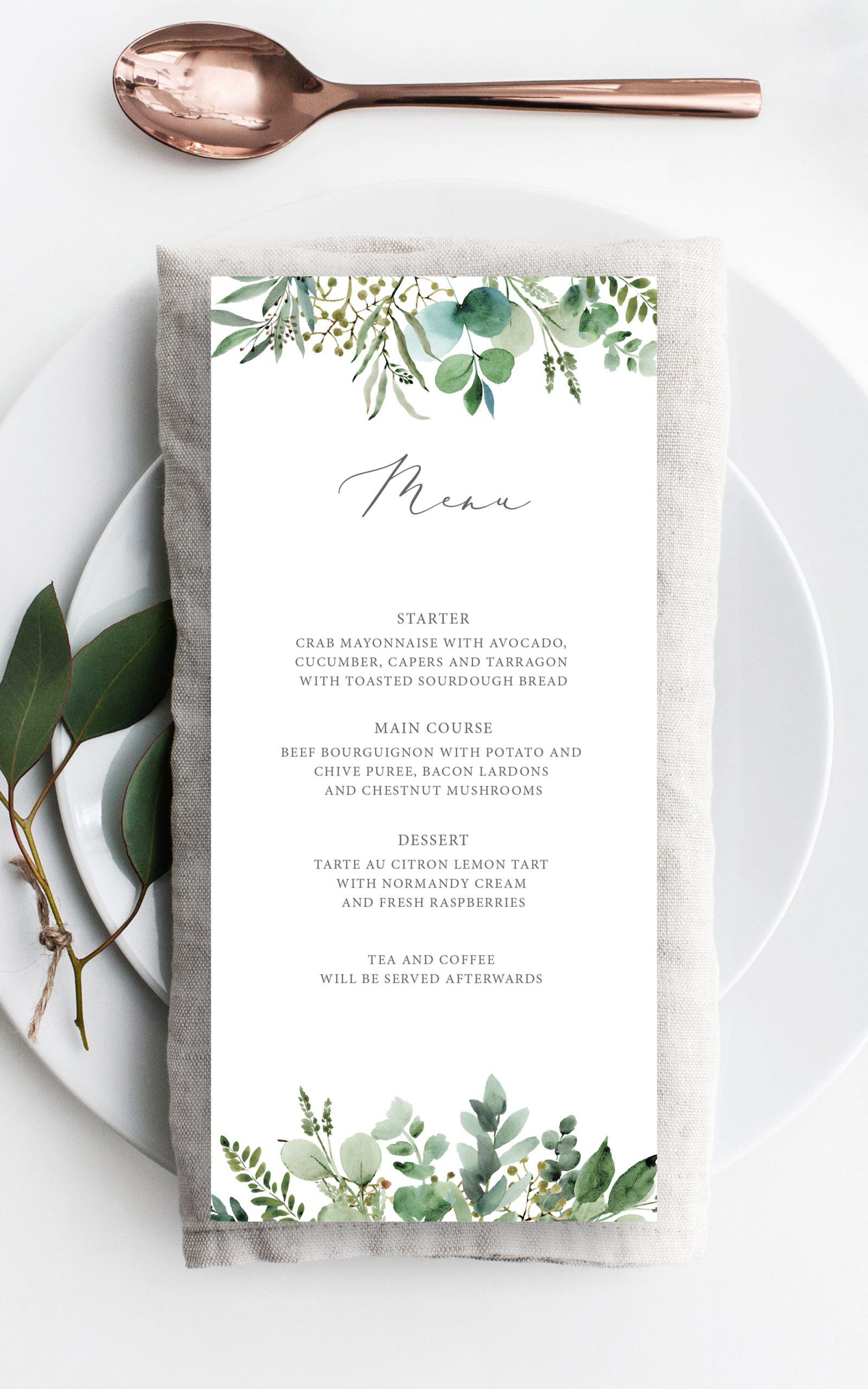 Hannah Greenery Eucalyptus Wedding Menu | Flamboyant Invites