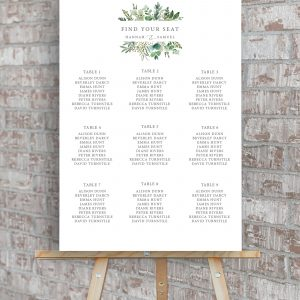 Hannah Greenery Eucalyptus Wedding Table Plan | Flamboyant Invites
