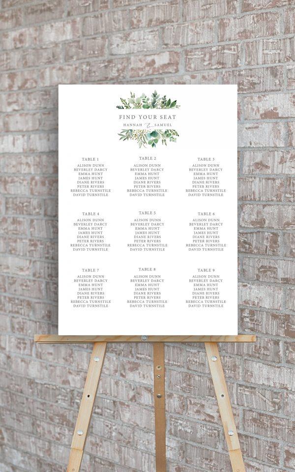Hannah Greenery Eucalyptus Wedding Table Plan | Flamboyant Invites