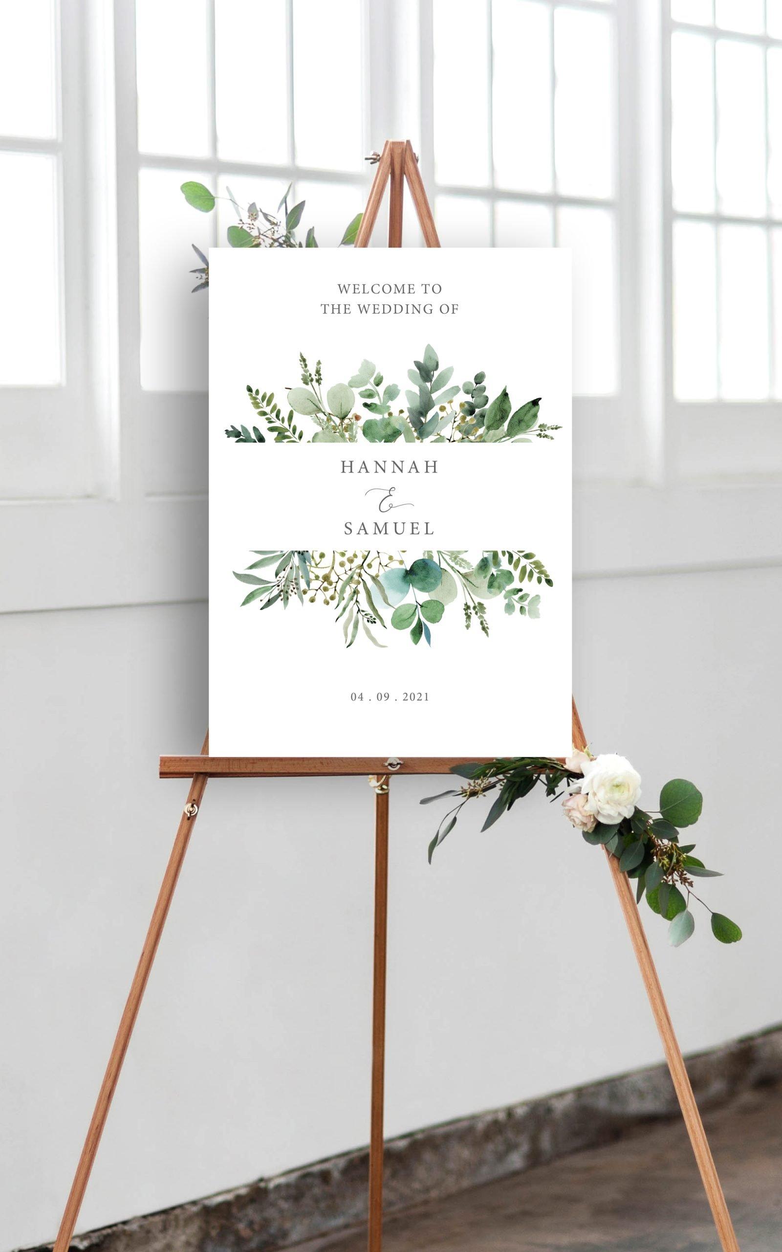 Hannah Greenery Eucalyptus Wedding Welcome Sign   Flamboyant Invites