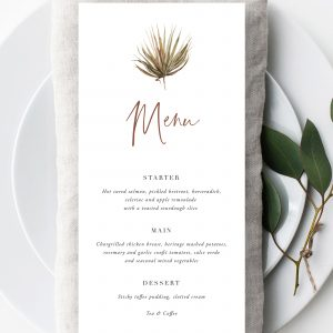 Boho Palm Wedding Menu | Flamboyant Invites