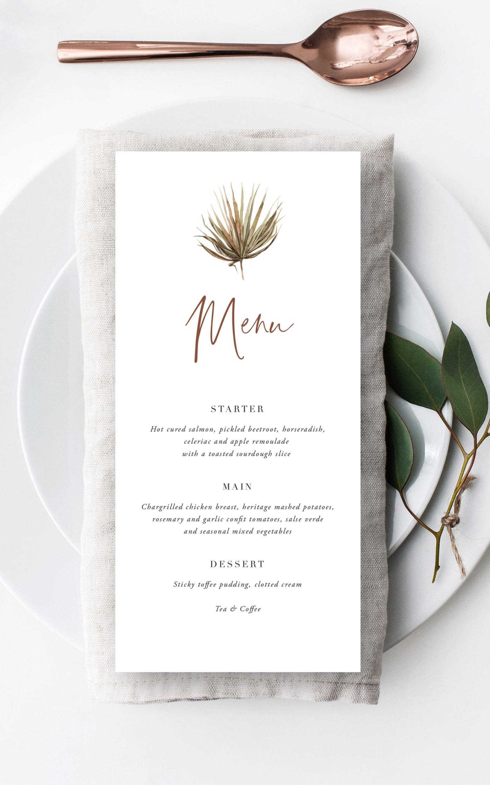 Boho Palm Wedding Menu   Flamboyant Invites