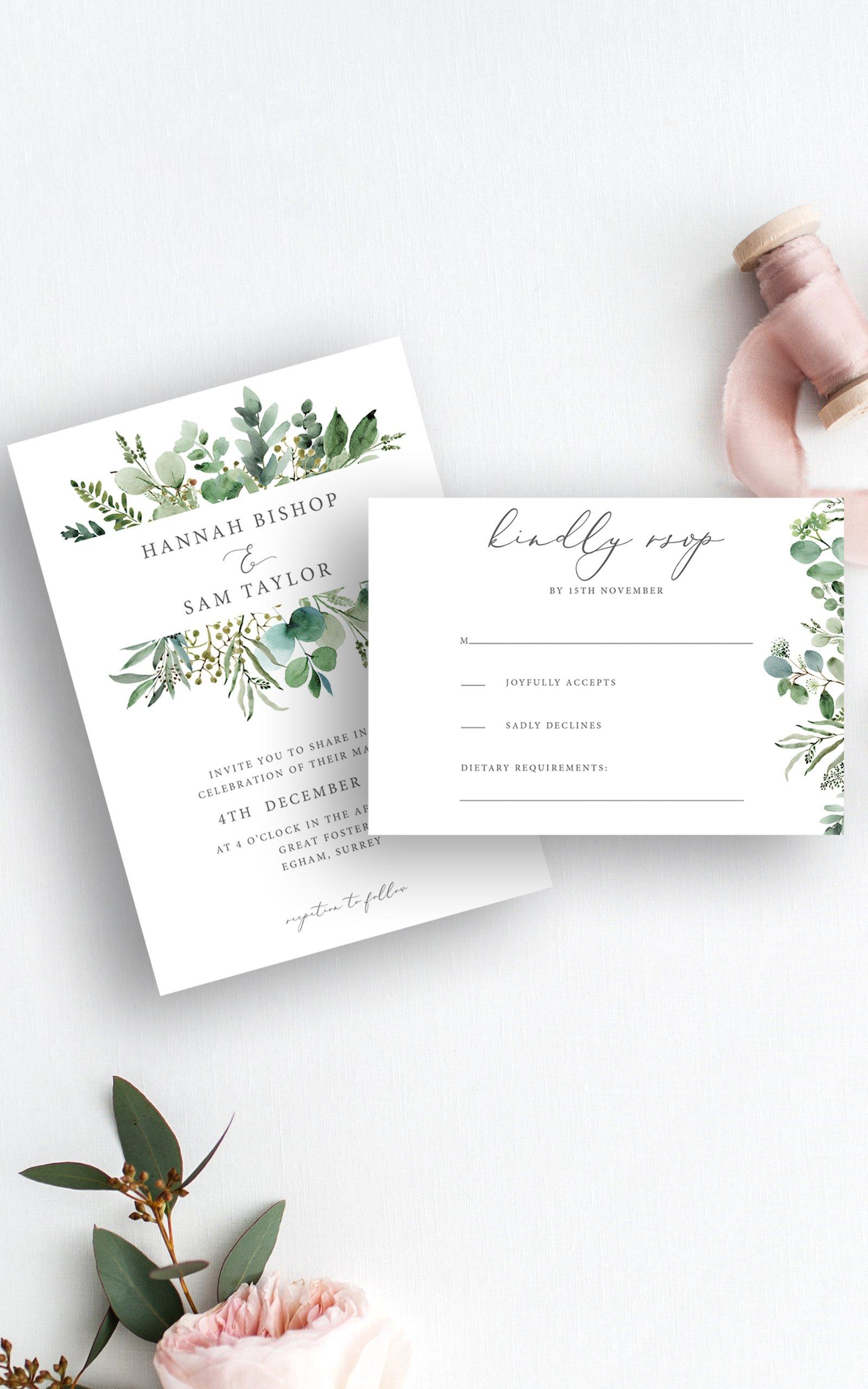 Greenery Eucalyptus Wedding Invitation RSVP   Flamboyant Invites