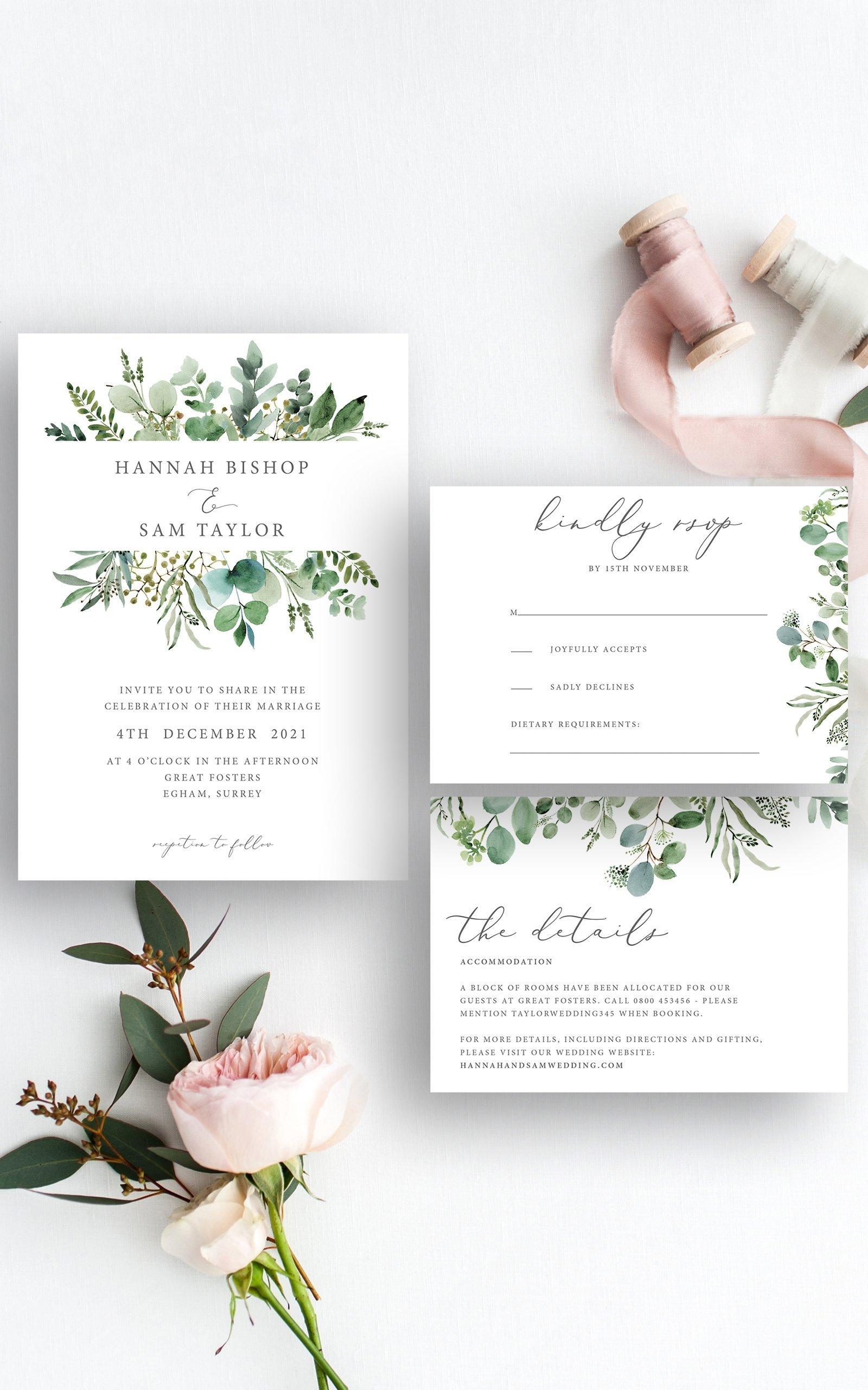 Greenery Eucalyptus Wedding Invitation Suite   Flamboyant Invites