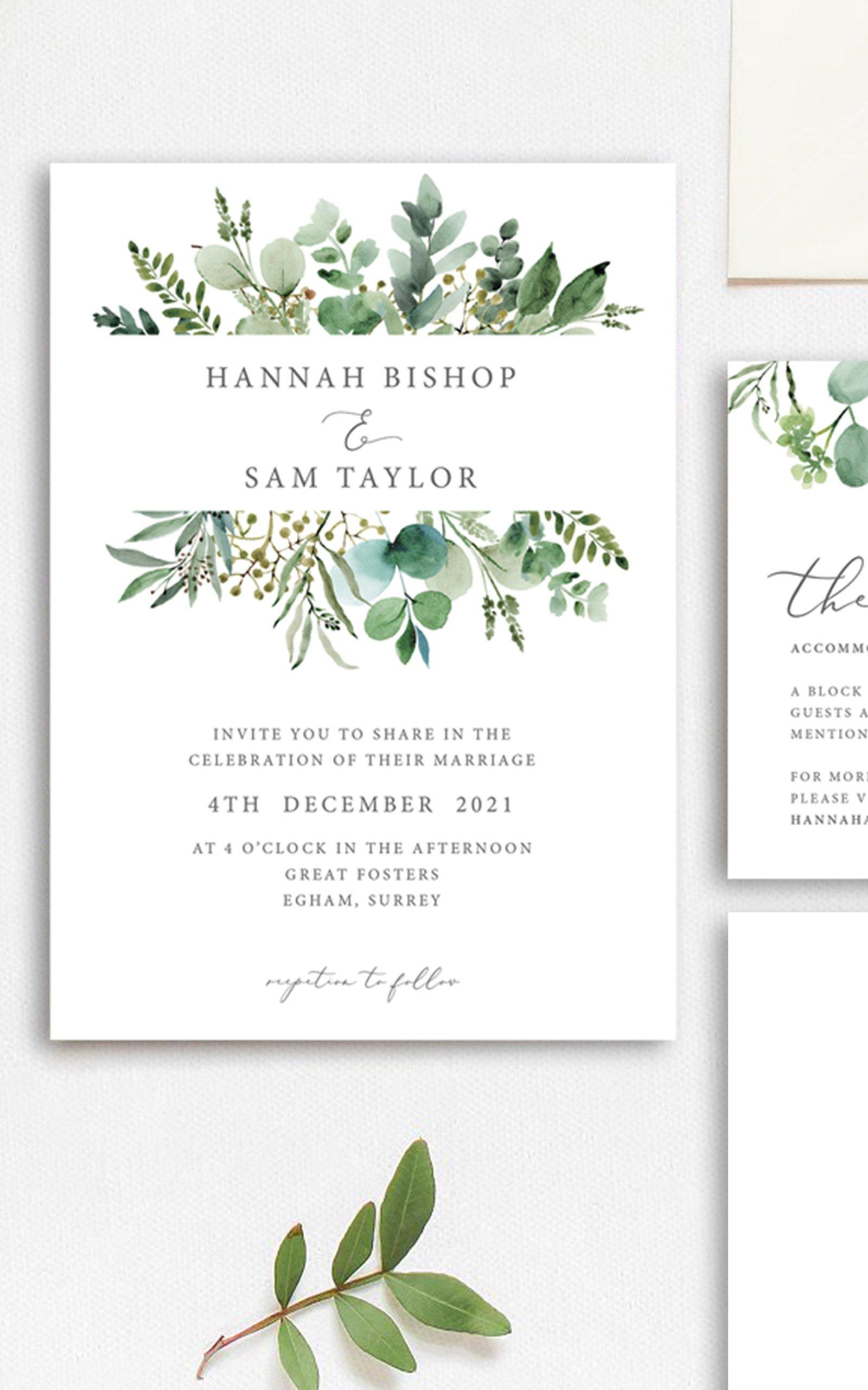Greenery Eucalyptus Wedding Invitation   Flamboyant Invites