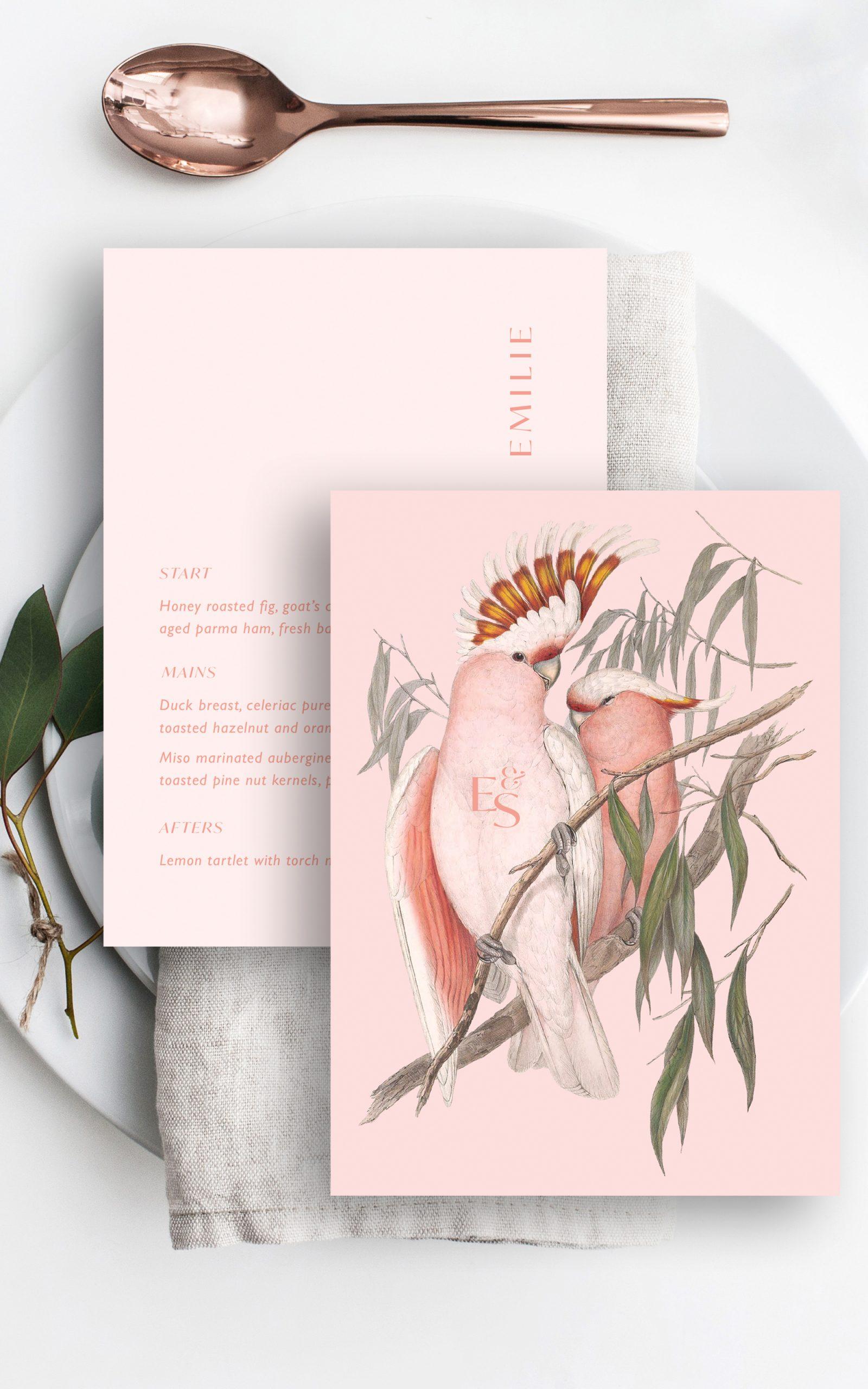 Love Birds Wedding Menu   Flamboyant Invites