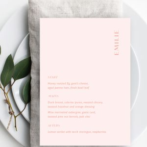 Love Birds Wedding Menu | Flamboyant Invites