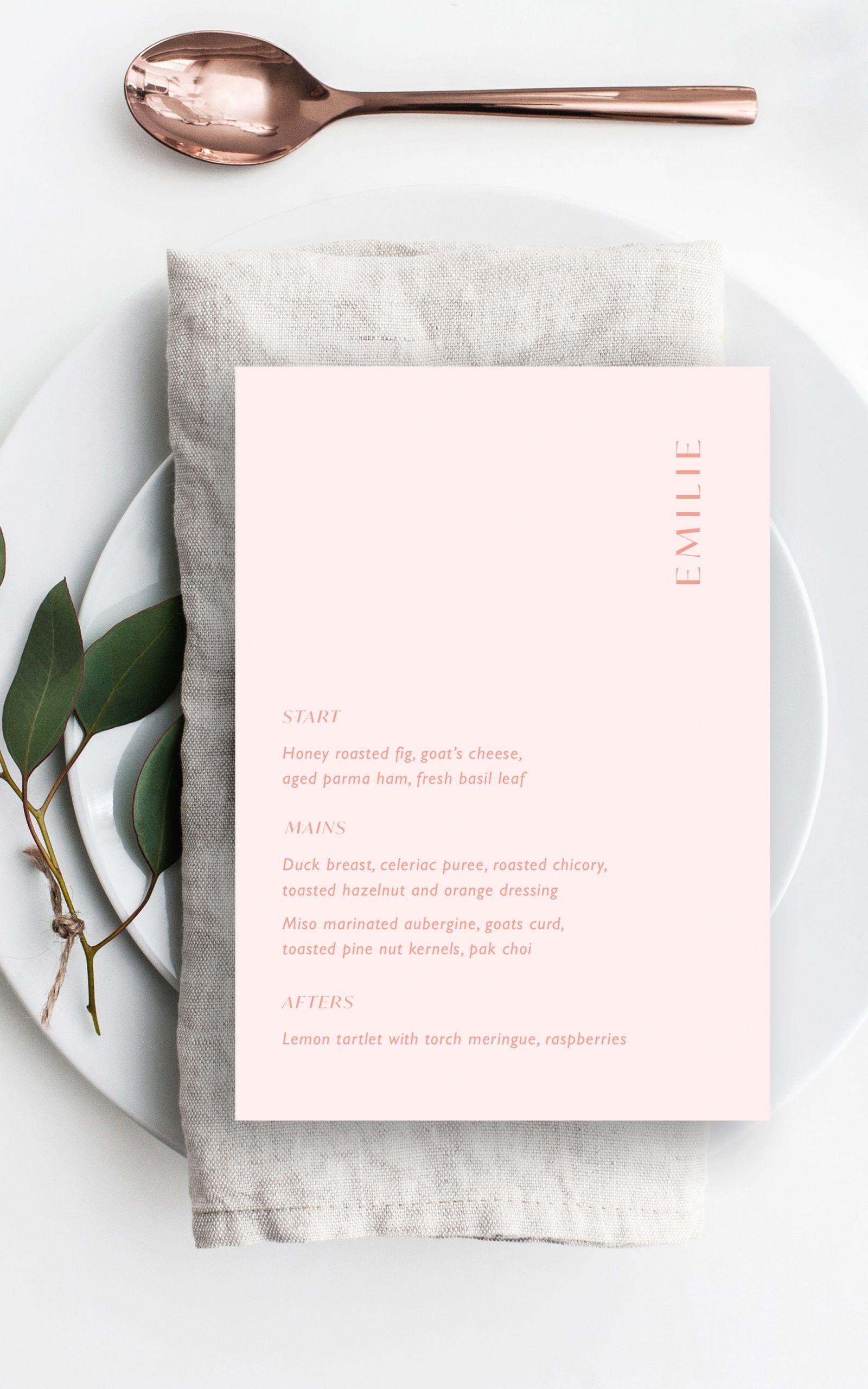 Love Birds Wedding Menu | Flamboyant Invites