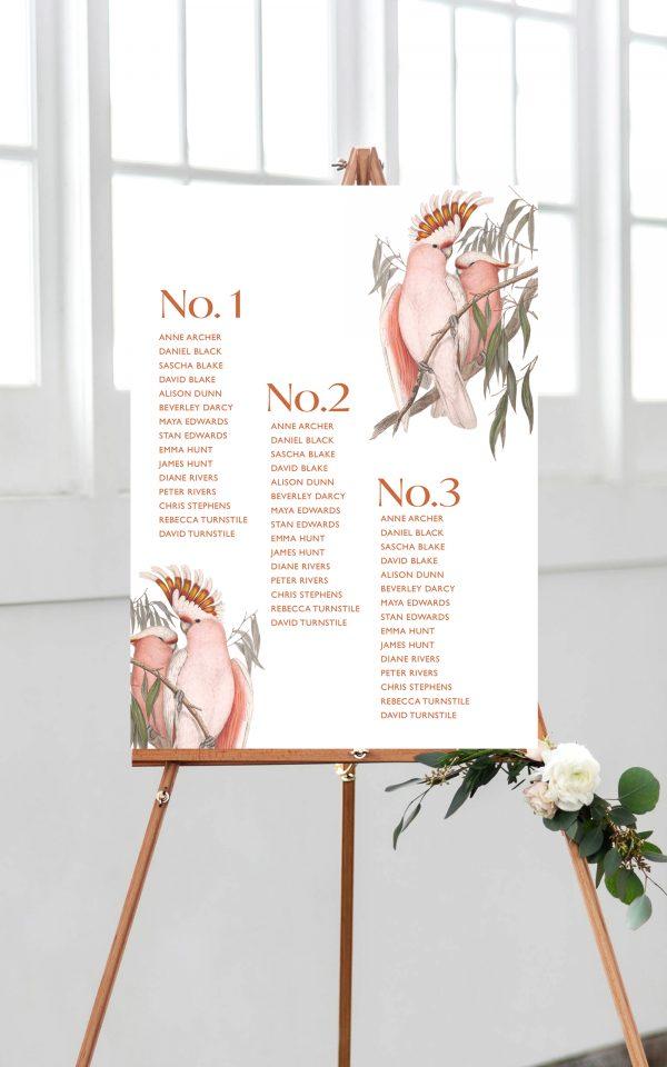 Love Birds Wedding Table Plan | Flamboyant Invites