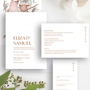 Love Birds Modern Botanical Wedding Invitation Suite | Flamboyant Invites