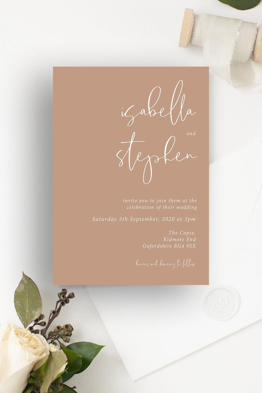 Minimo Minimalist Wedding Invitation Apricot | Flamboyant Invites