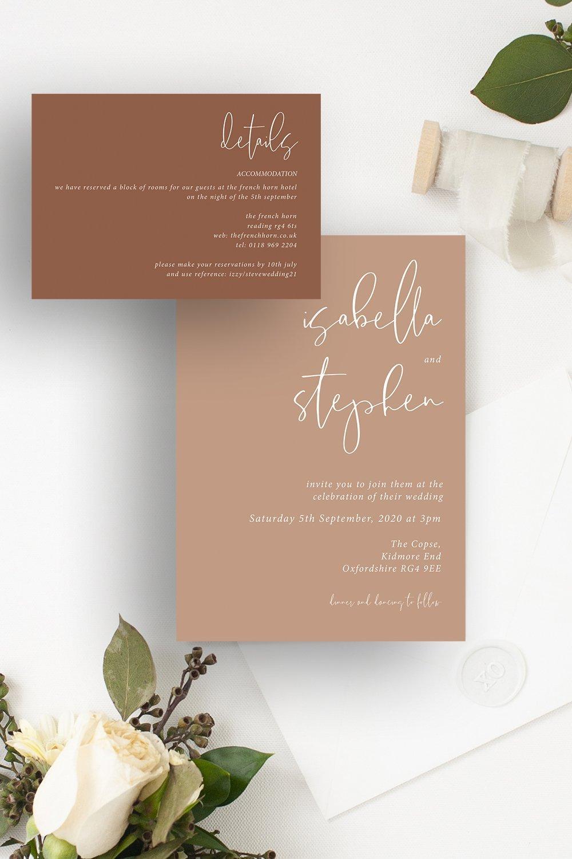 Minimo Minimalist Wedding Invitation Set Apricot & Terracotta   Flamboyant Invites