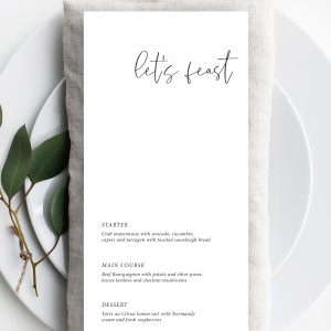 Minimo Minimalist Wedding Menu Black & White | Flamboyant Invites