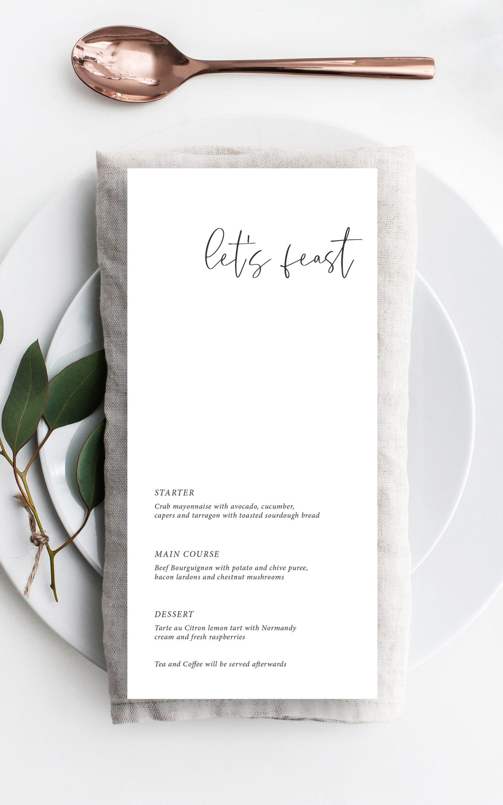 Minimo Minimalist Wedding Menu Black & White | Flamboyant Invites