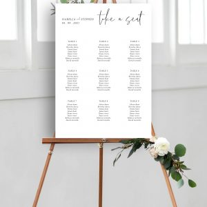 Minimo Minimalist Wedding Table Plan Black & White | Flamboyant Invites